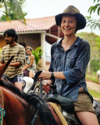Mounted on a horse and ready to ride further through Guatemala in our horse caravan