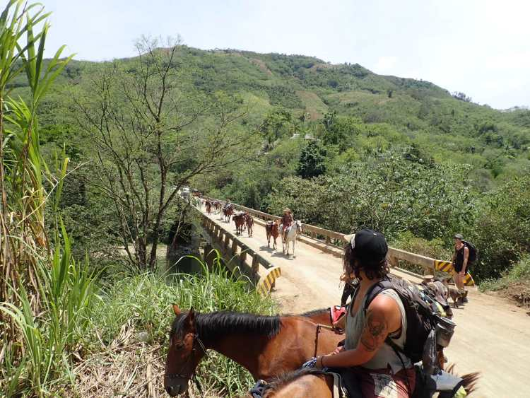 The horse caravan in crossing a bridge over the Cahabon river in Guatemala