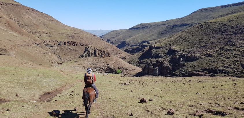 Riding into a distant canyon on horseback in Lesotho - horse trekking in its pure form