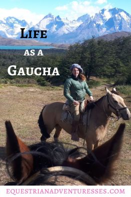 Hebe in traditional gaucho attire while horse riding in Chile