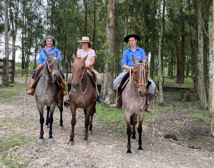 Members of Team Paranoia mounted on Criollo horses