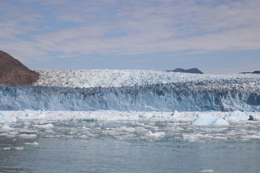 A boat trip takes you to a nearby glacier in Greenland where you can get close to the ice, hear the ice cracking and see the glacier calving.