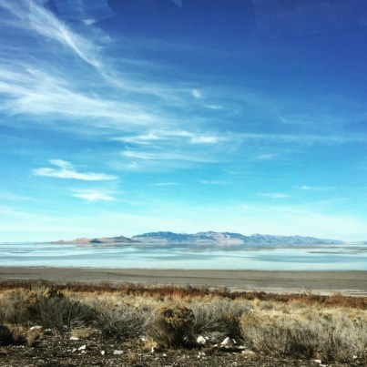 View from the Antelope Island causeway over the Great Salt Lake and the mountains in the background