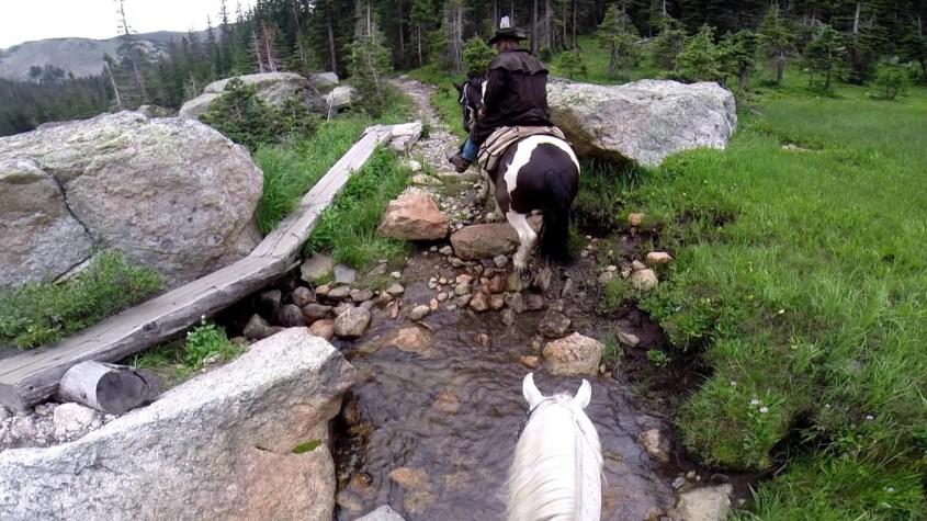 Crossing a creek on the Continental Divide Trail in Colorado.