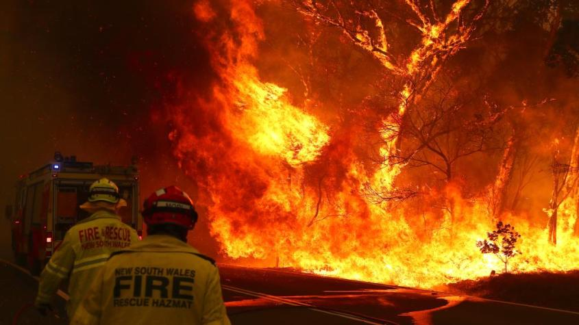 Fires in Australia are destroying thousands of acres of land in front of the firefighter's eyes.