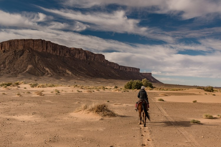 A horse riding trail guide leading a group of riders through sandy landscape in Morocco