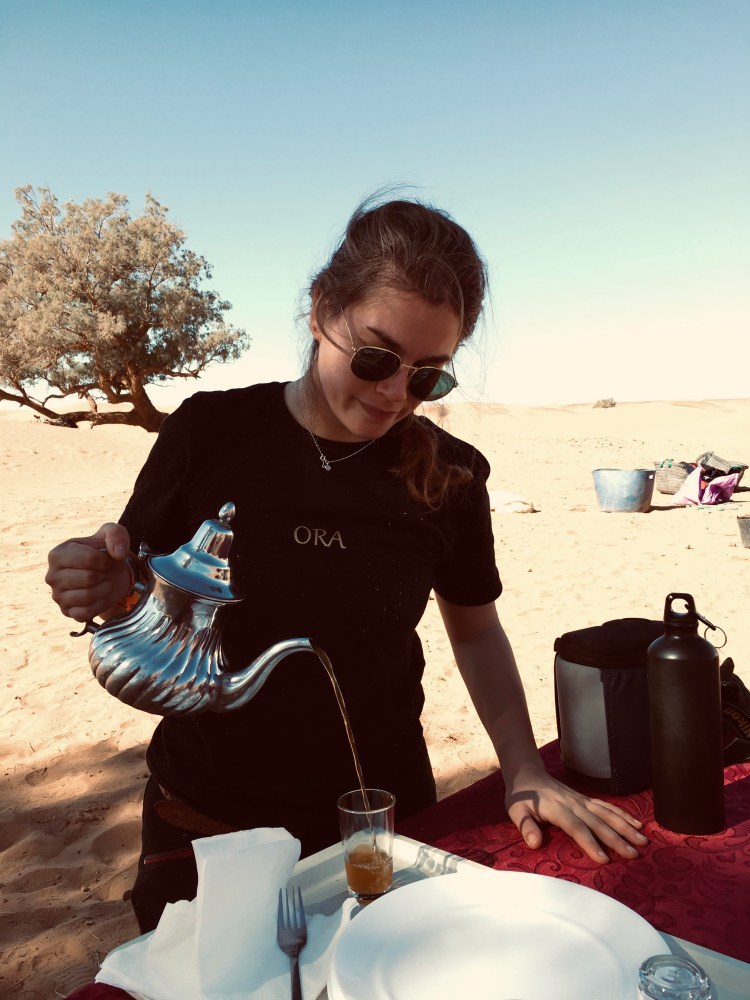 Pouring traditional mint tea in Morocco is a craft which needs a lot of practice.is a