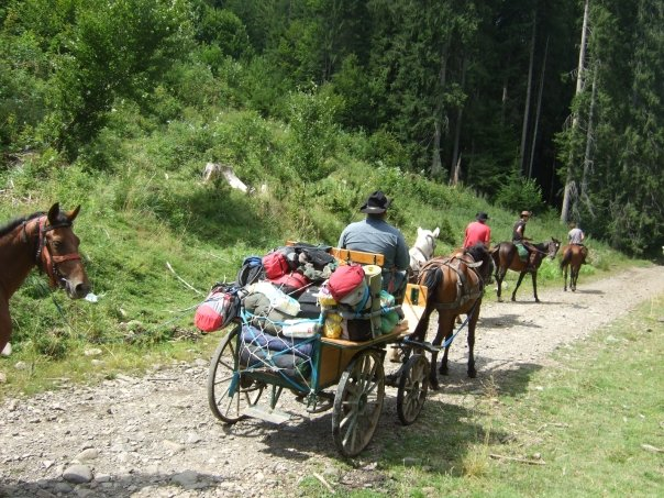 Some horse riders and an overloaded horse drawn cart on a stoney path in Romania