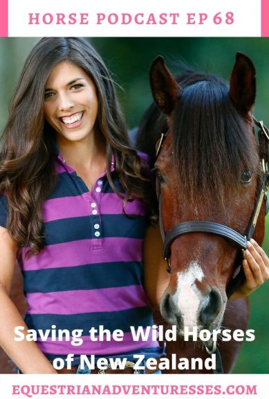 Horse and travel podcast pin - Ep 68 Saving the Wild Horses of New Zealand