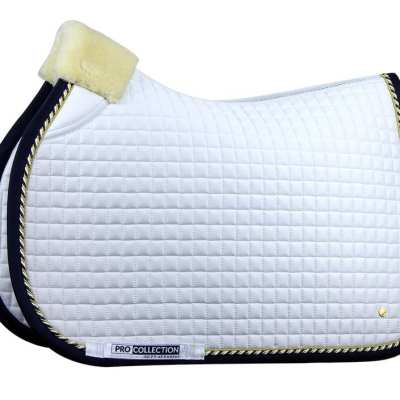 pro white and navy jump saddle pad