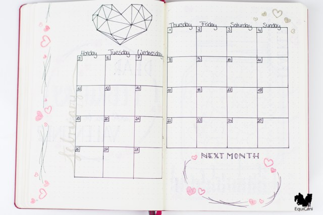 Plan with me: February Bullet Journal Monthly Overview