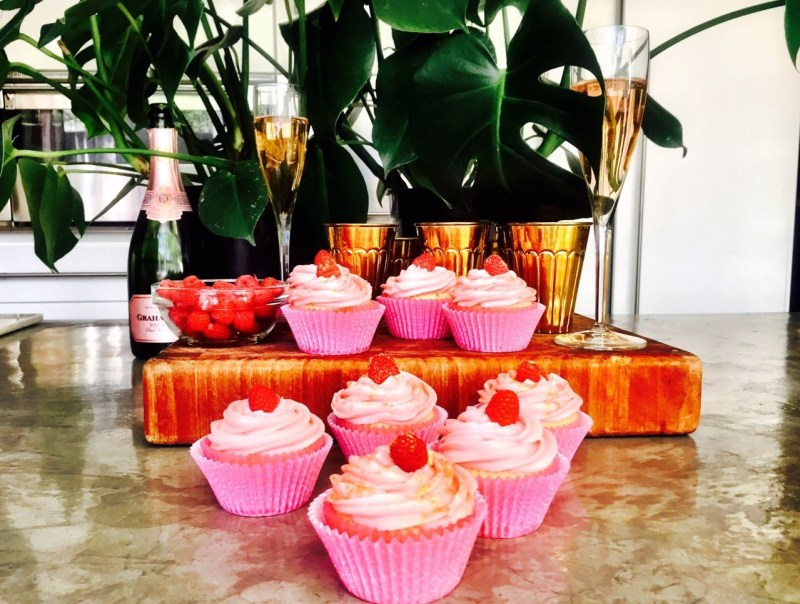 champange and raspberry cupcakes