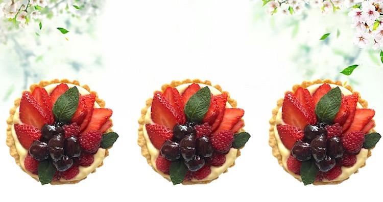 lemon curd mascarpone tart with cherry berry topping