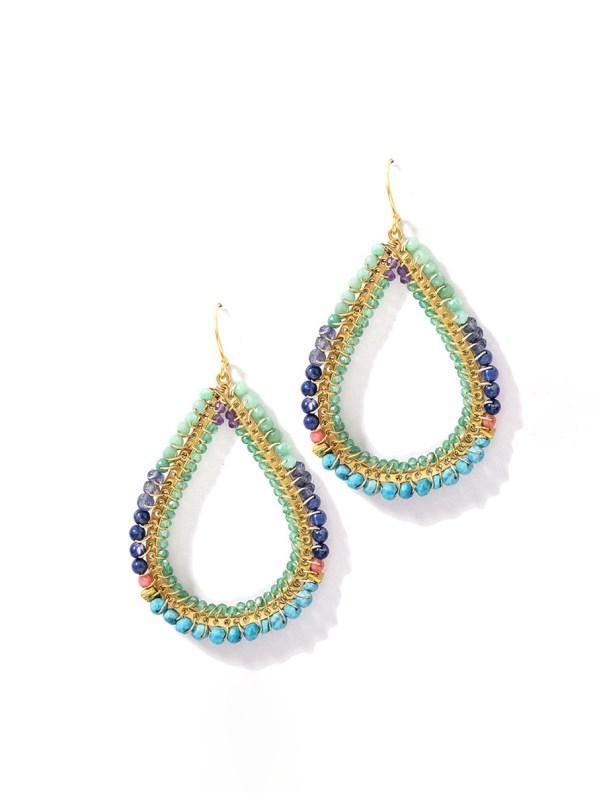 Kirsten Goss Bomber Earrings Blue Gold