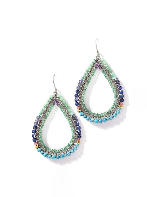 Kirsten Goss Bomber Earrings Blue Silver