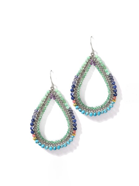 Large teardrop earring with blue and green stones South Africa
