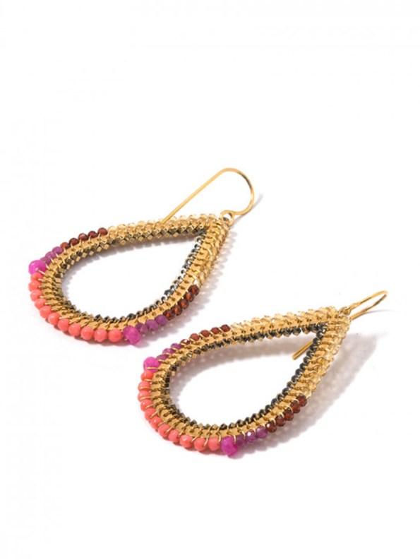 Kirsten Goss Bomber Earrings Coral Side_
