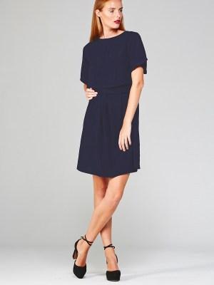 Mareth Colleen Napa Dress in Navy on Model