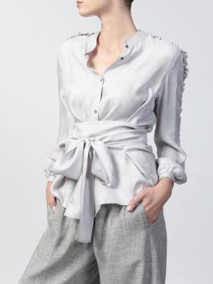 silver grey button down blouse with belt