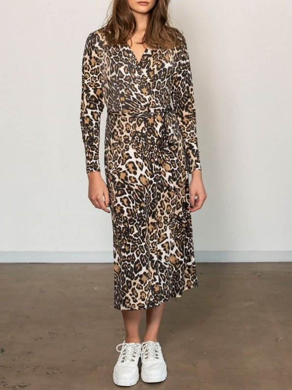 Smudj Leora Wrap Dress Leoprad Print Front