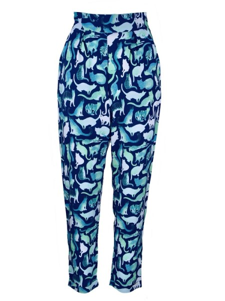 South Africa blue pants with cat print