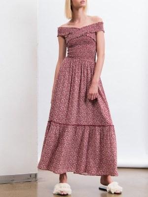Smudj Vacay Dress Red off the shoulder dress