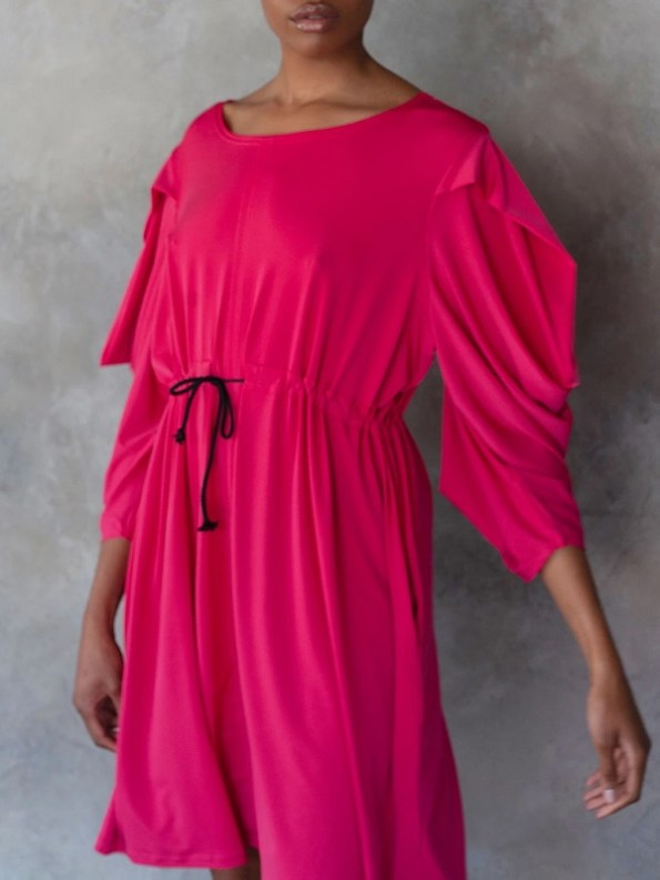 Erre Just Sleeve It Drawstring Dress Pink Cropped