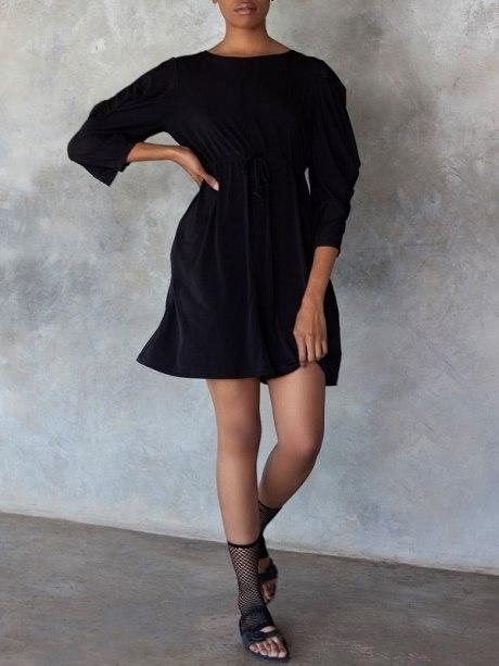 Erre Just Sleeve it Drawstring Dress Black Front