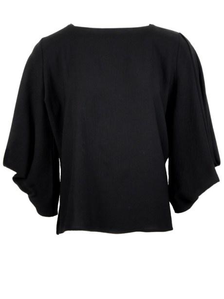 Erre Power Sleeve Blouse Black Shopfront