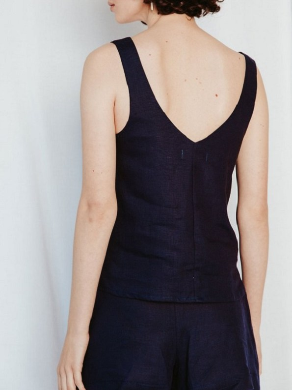 Good Classic Cami Navy Linen Back