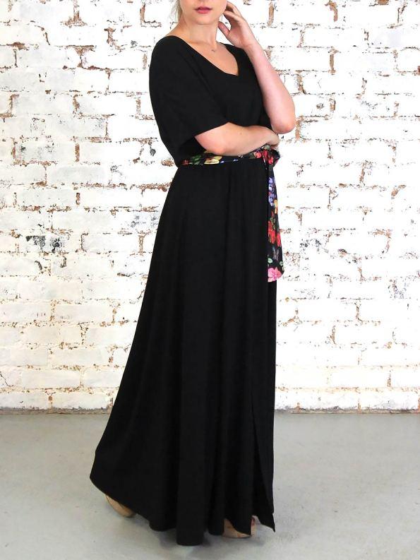 JMVB Bordeaux Dress Black Floral Angle