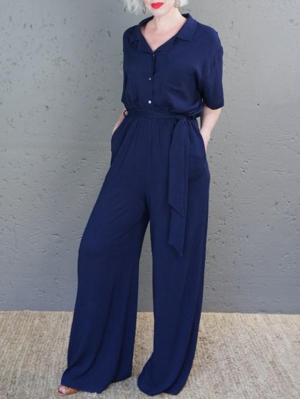 JMVB Cannes Pants Navy and Nimes Shirt Side