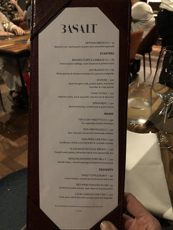 Bsalt restaurant menu