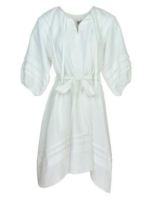 White linen midi dress
