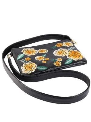 Embroidered Black Pouch Yellow Floral Leather Strap