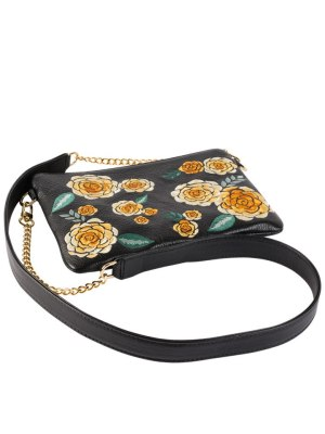 Black Pouch Yellow Floral with Chain Strap