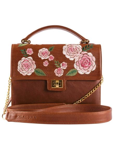 Brown Leather Pink Floral Handle Bag with Clasp Chain Strap