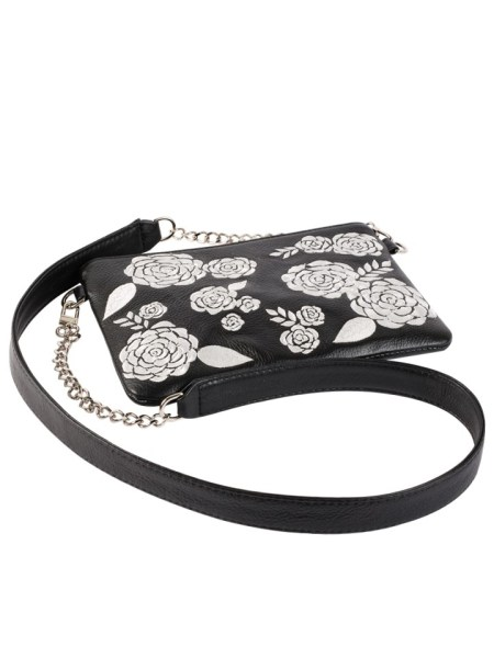 Milaluna Black Leather White Floral Pouch With Chain Strap