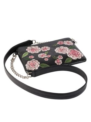 Milaluna Black Pouch Pink Floral with Chain Strap