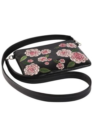 Milaluna Black Pouch Pink Floral with Leather Strap