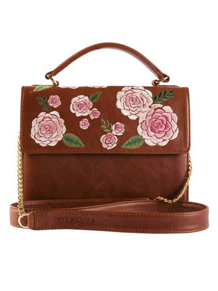 Milaluna Brown Leather Pink Floral Handle Bag Chain Strap