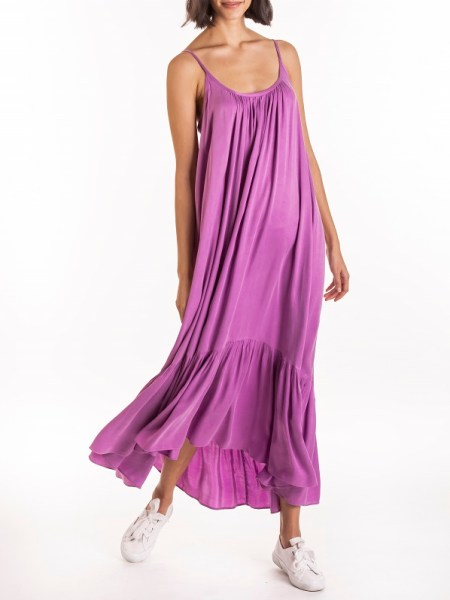 Purple Frill Maxi Dress