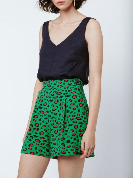 Navy Top with green leopard print shorts