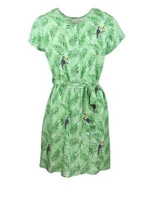 Green dress with toucan bird print