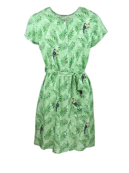 Green dress with toucan bird print