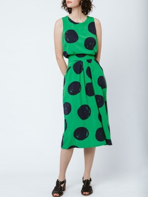 Good Clothing Cropped Keyhole Tank and Smarty Skirt Green Giant Dot Front