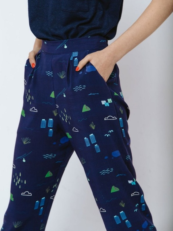 Good Clothing Kandy Pants Navy Cape Town Scene Detail