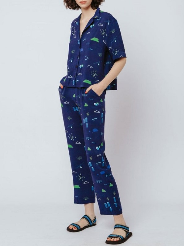 Good Clothing Kandy Pants and Summer Shirt Navy Cape Town Scene Side