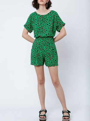 Good Clothing Marble Top and Gardening Shorts Green Leopard