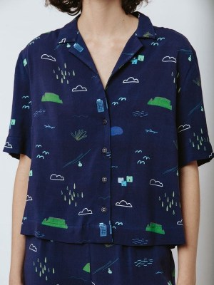 Good Clothing Summer Shirt Navy Cape Town Scene Cropped